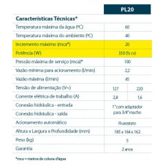 PRESSURIZADOR ELÉTRICO LORENZETTI PL20 127V
