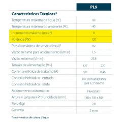 PRESSURIZADOR ELÉTRICO LORENZETTI PL9 127V